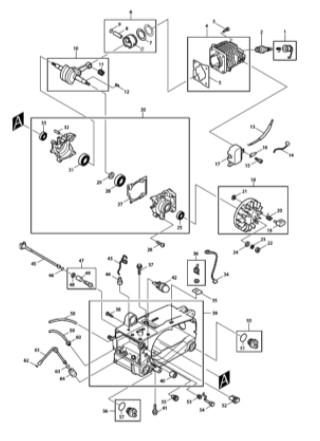 マキタエンジンチェーンソーMED331の分解図(一部)