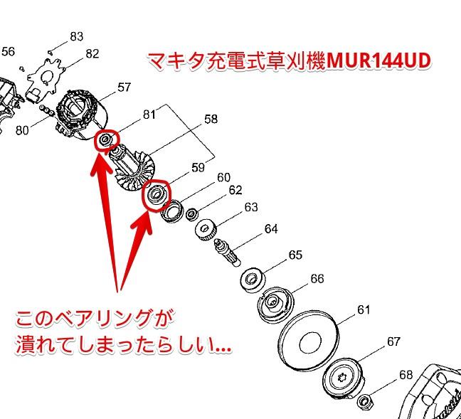マキタ充電式草刈機MUR144UD・ベアリング