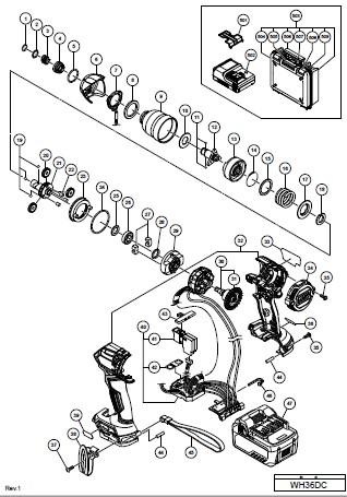HiKOKIインパクトドライバWH36DC分解図縮小サイズ